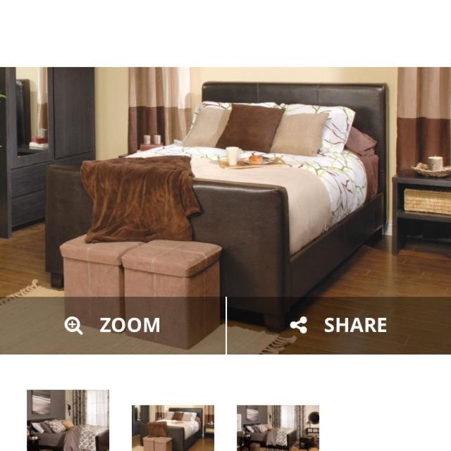 queen bed frame from jysk with box spring and mattress almost new - Used Queen Bed Frame