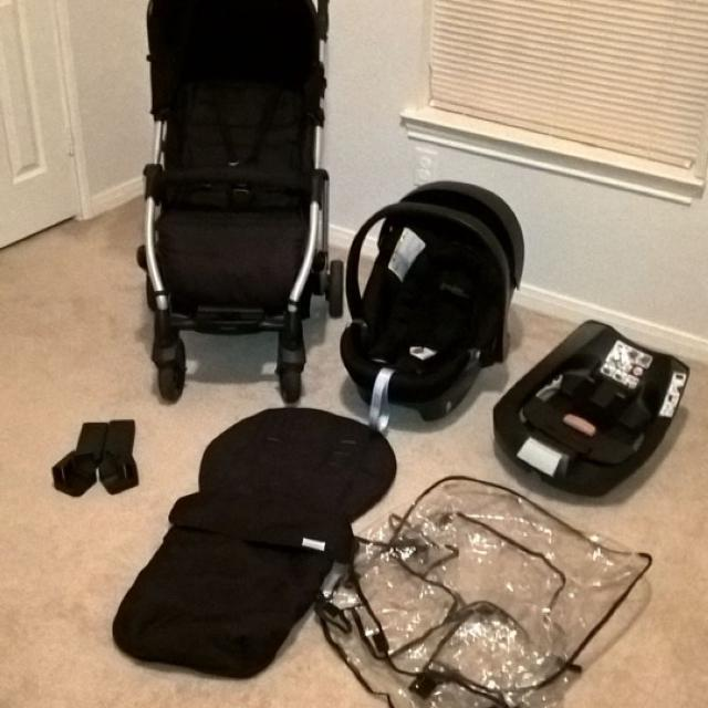 Find more Mamas & Papas Luna Stroller - Black With Cybex Aton Infant