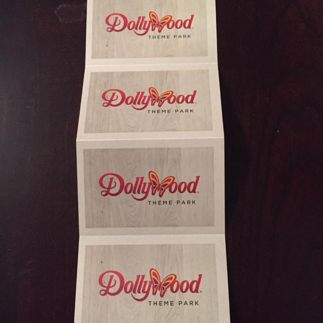 4 Dollywood tickets  Expire 1-3-16  All 4 $150 or $40 each  Red admission  price is $62 plus tax