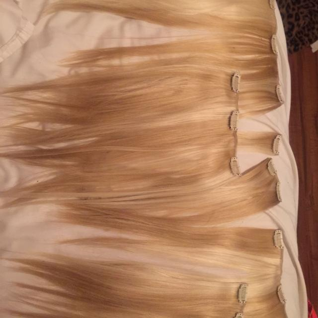 Best 6 Piece Real Blonde Hair Extensions In Perfect Condition
