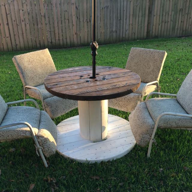 Reduced To 50 Beautiful Painted And Stained Wooden Spool Table Perfect For A Patio More Pictures In Comments Two Available