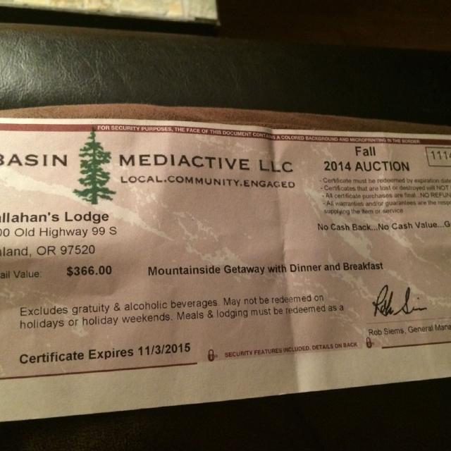 Find more Gift Certificate To Callahan\'s Lodge- Value $366 ...
