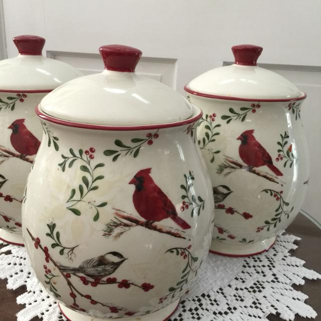 Find more better homes garden songbird canister set of 3 for sale at up to 90 off for Better homes and gardens canisters