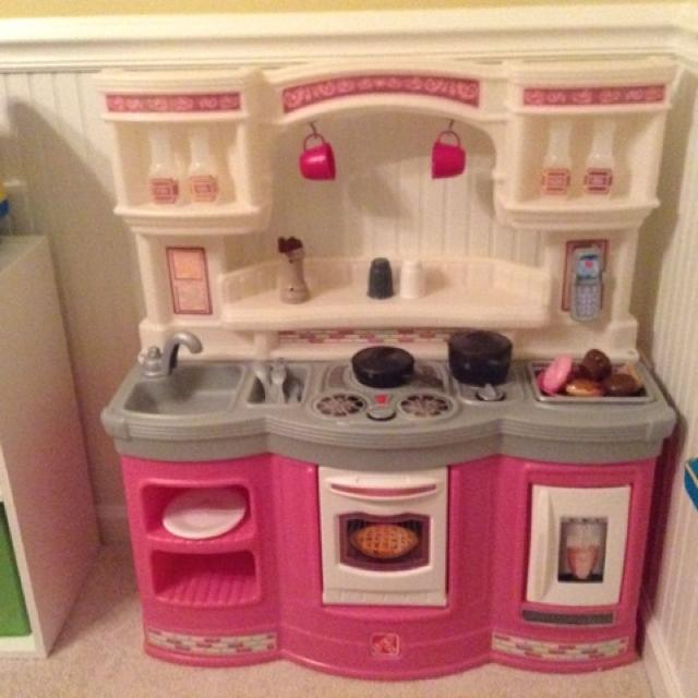 Step 2 Pink Kitchen Set. Comes with food, pots and pans, silverware, cups,  salt & pepper shakers, spices, plates and bowl, phone & utensils.