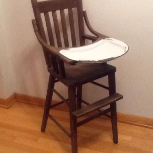 Find More Antique Wooden Highchair With Enamel Tray 14 W X 40 H
