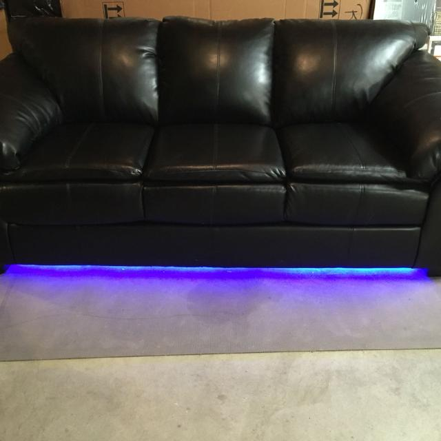 Black Couch With Blue Light Or No We Can Deliver In Champaign But You Must