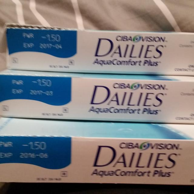 Ciba vision dailies. Aqua comfort plus contacts. Pwr is -1.50. Each box