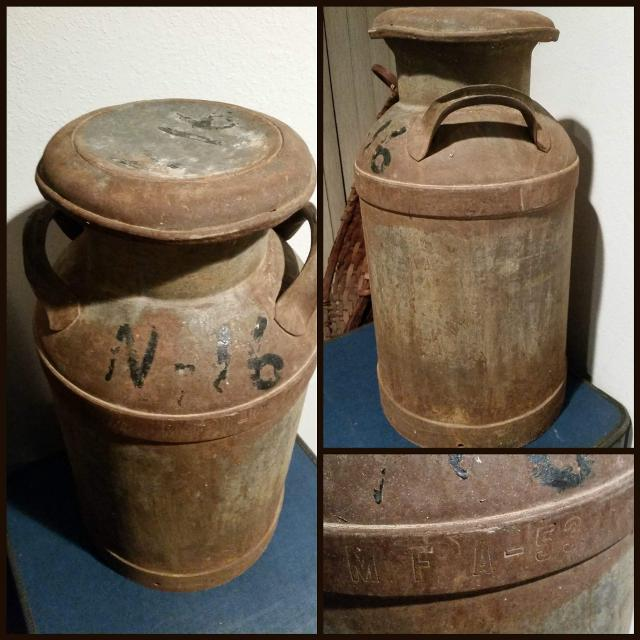 Antique Mfa Metal Milk Can For