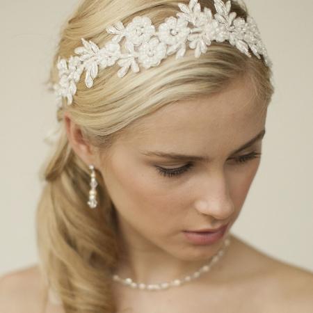 Ivory Lace Applique Garden Wedding... for sale  Canada