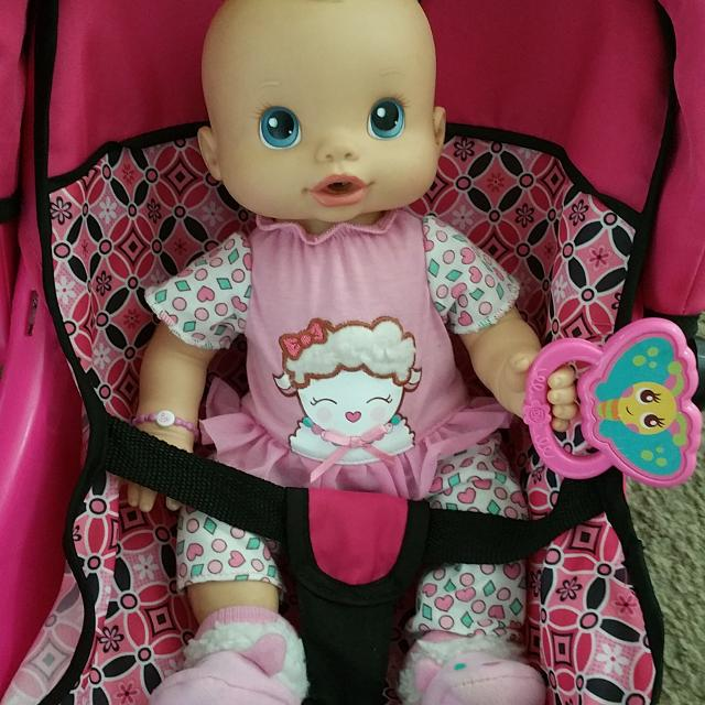 Baby Sounds Alive Doll And Car Seat