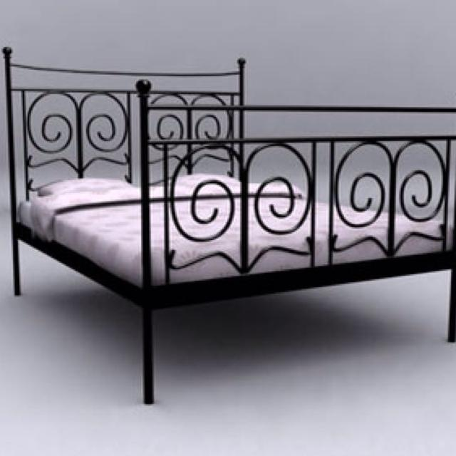Ikea Black Metal Bed Frame King Size Includes Slats For The Bottom So You
