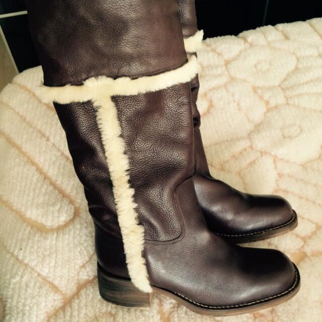 034c3c86 Find more Steve Madden Brown Leather Boots Size 8 Lined With Natural ...