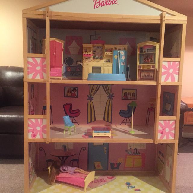 Find more wooden barbie dream house with new furniture and for Dream wooden house