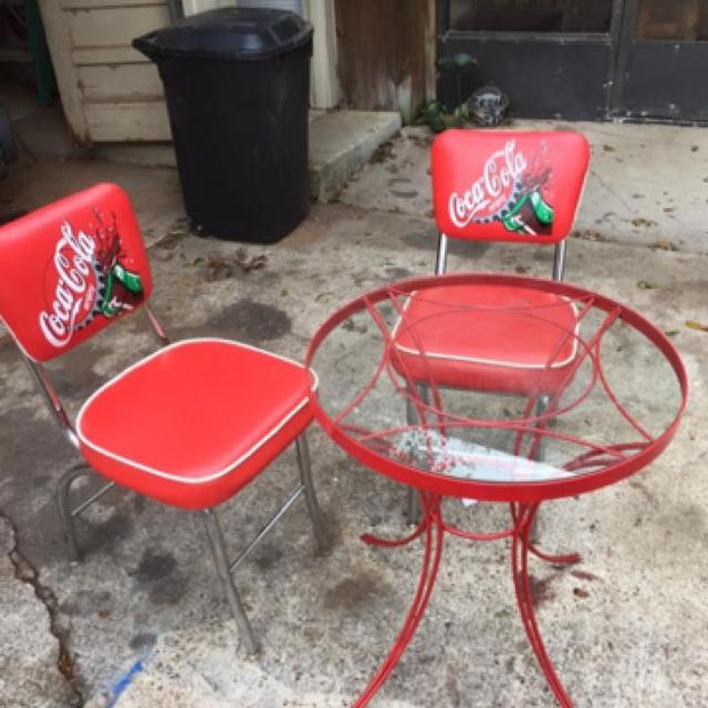 find more antique coca cola chairs and glass top table for sale at