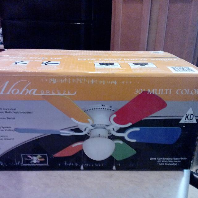 Brand New Ceiling Fan Unopened And Unused 30 Multi Color Blades Are