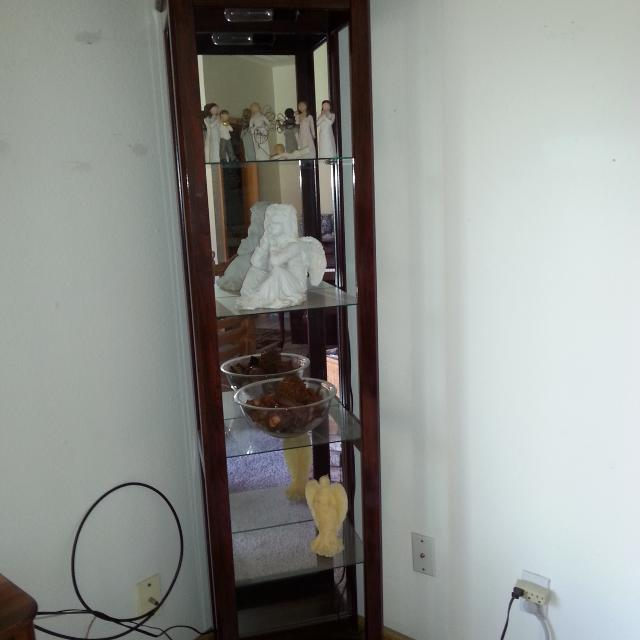 Lighted Curio Type Cabinet Glass Shelves Mirror Back
