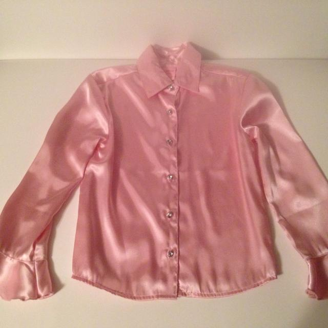 b4c847cf9c570 Best Pink Satin Blouse With Rhinestone Buttons