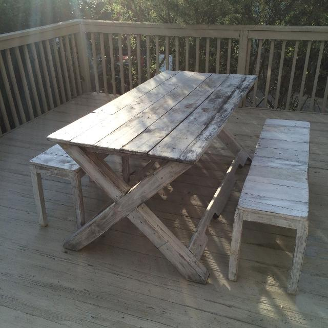 REDUCED Picnic / outdoor table and benches, rustic chic, whitewash - Find More Reduced Picnic / Outdoor Table And Benches, Rustic Chic