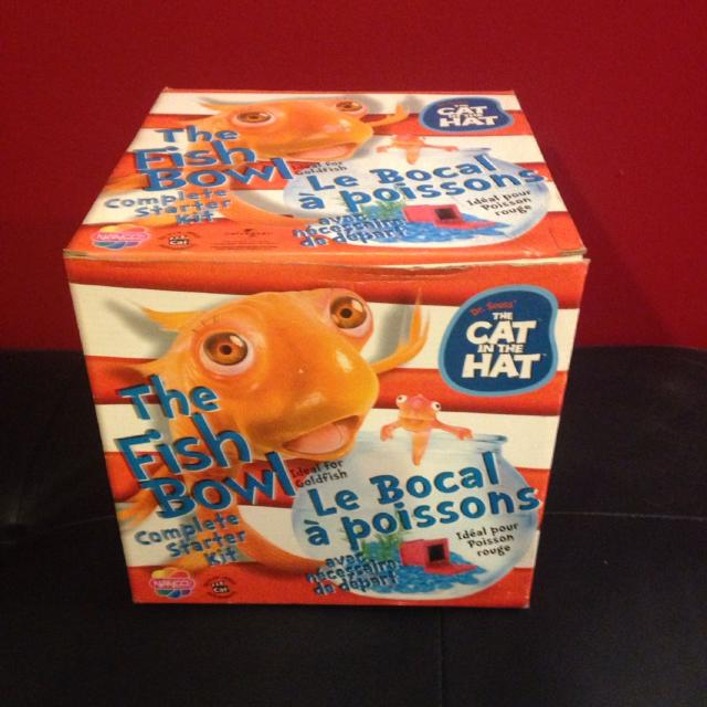 Cat In The Hat Fish Bowl Starter Kit Comes With Unopened Treasure Chest Blue