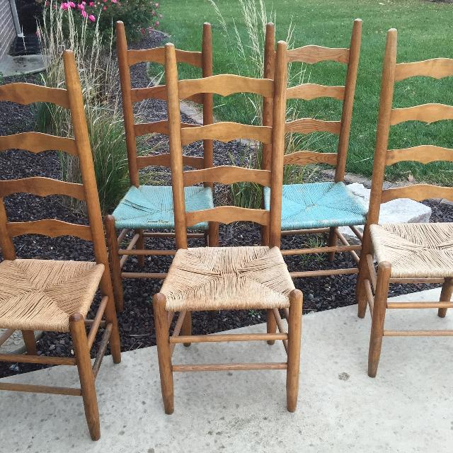 ANTIQUE: Ladder Back Side/Dining Chairs with Rush Seats - FIVE Chairs ONE  Price - Find More Antique: Ladder Back Side/dining Chairs With Rush Seats