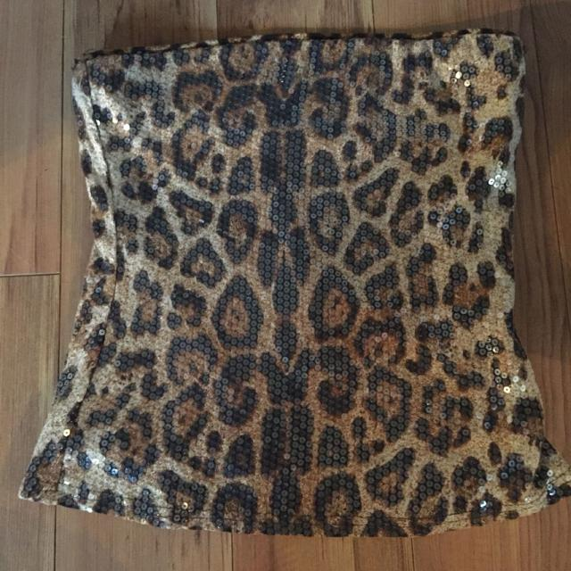Find More Sequinned Leopard Print Strapless Top For Sale At Up To 90