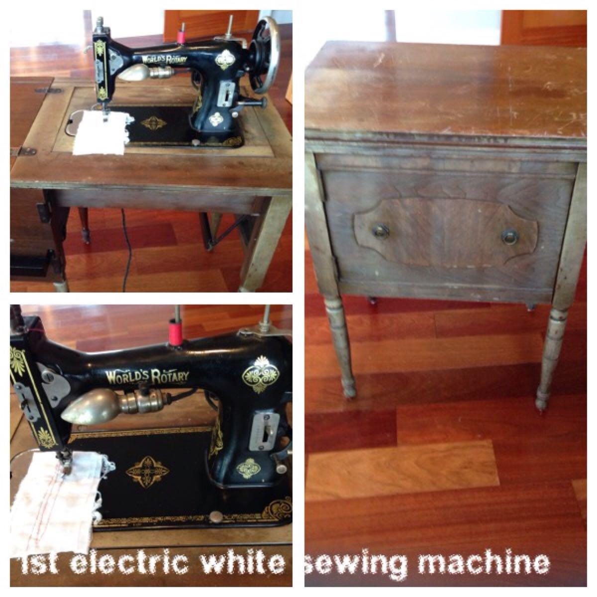 Antique sewing machine brand is white rotary sewing machine first electric  white machine antique cabinet with brass fixtures