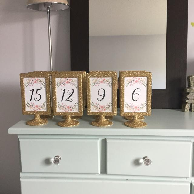 Find more 17 Table Numbers For Wedding. Double Sided Gold Glitter ...