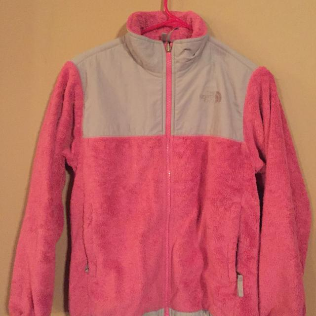 167cbee5c NORTH FACE girls size large (14) fuzzy hot pink jacket w light grey trim.  GUC, no holes or stains, all zippers work!