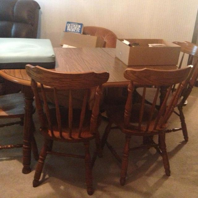 Virginia House Wooden Dining Room Table With Leaf 6 Chairs
