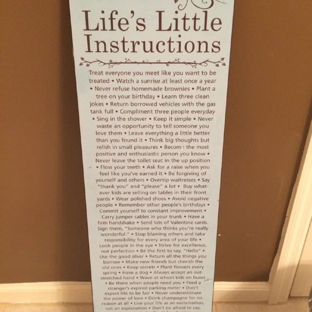 Find More Lifes Little Instructions Plaque For Sale At Up To 90 Off