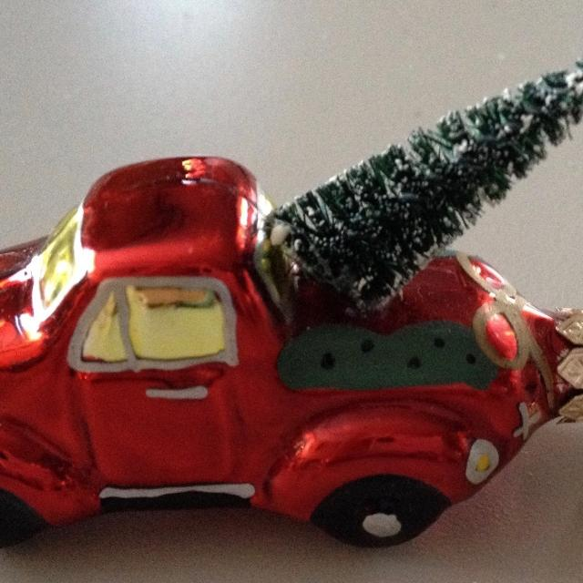 Glass Vintage Truck Ornament With Bottle Brush Christmas Tree