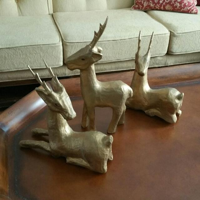 3 Gold Paper Mache Reindeer Table Decoration