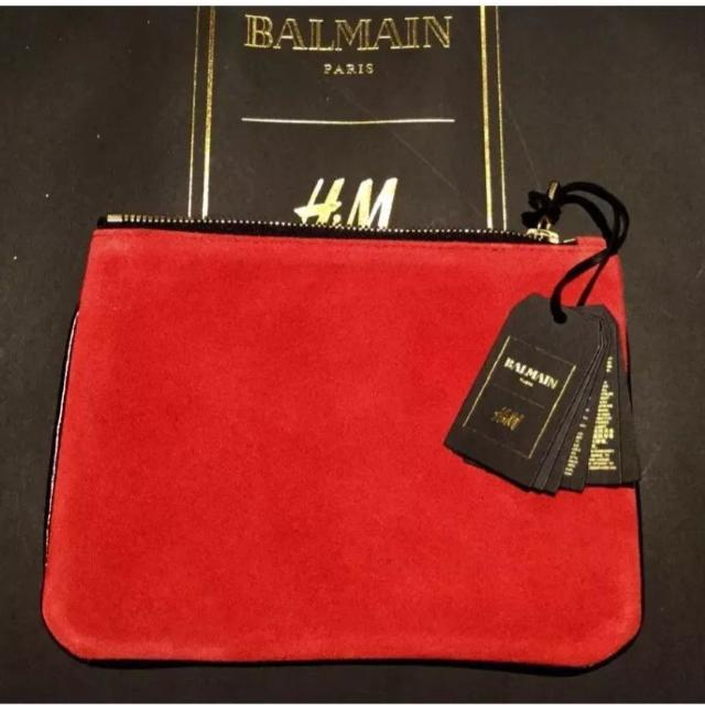 126a8747f00 Best Balmain X H&m Red Suede & Leather Clutch ! for sale in Atlanta,  Georgia for 2019