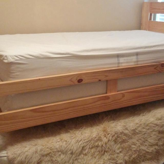 Find more Solid Pine Handmade Raised Twin Bed With New Mattress And ...