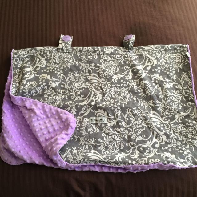 EUC Minky Purple And Gray White Carseat Canopy 5 Ashburn Village Pu