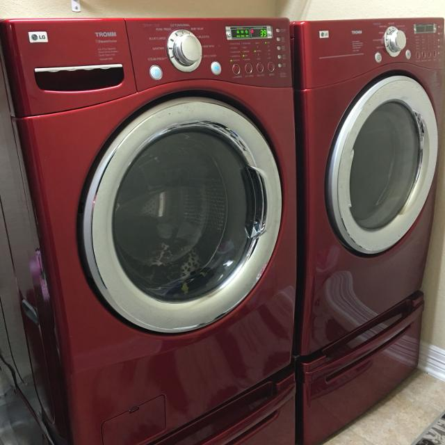 Lg Tromm Red Washer Electric Dryer And Pedestals Good Used Condition Poms