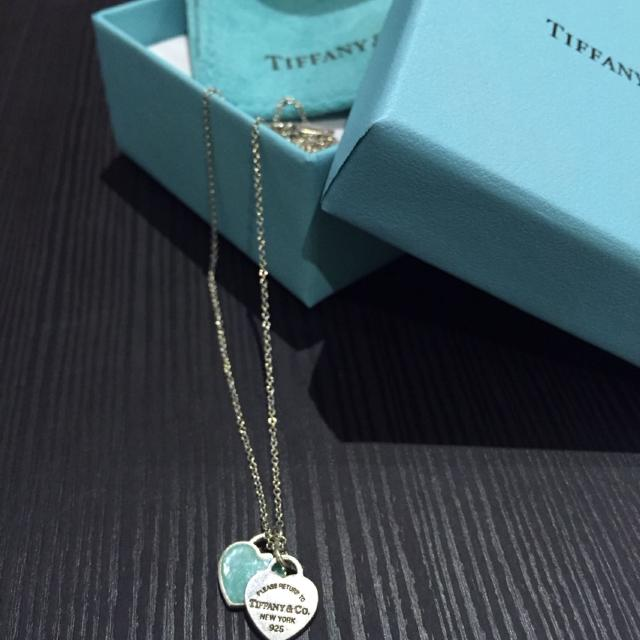 d59fe995e9b7c Return to Tiffany mini double heart tag pendant in silver with enamel finish