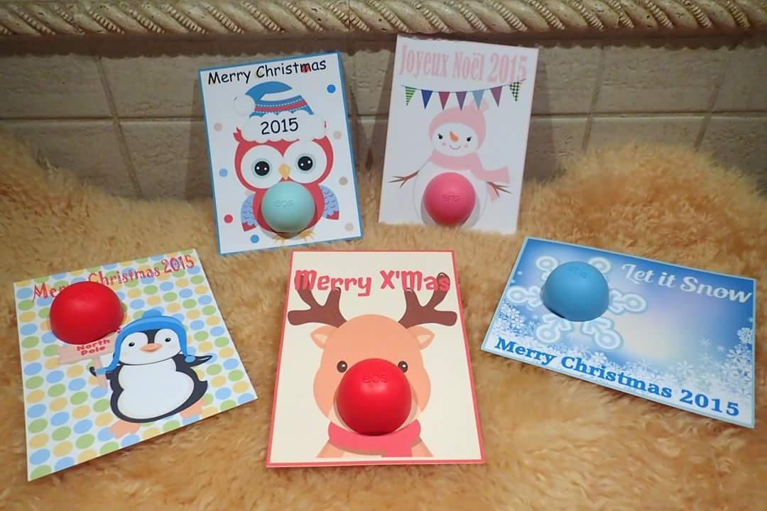Custom Made Cute Gift Card Eos Lip Balm For Christmas Gift
