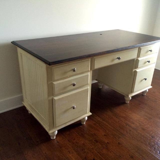 Solid Wood Desk Dark Walnut Top And Cream Distressed Body Beadboard Front Sides