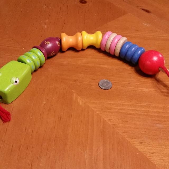 Wooden Snake Learning Toy Toddler String Of Beads