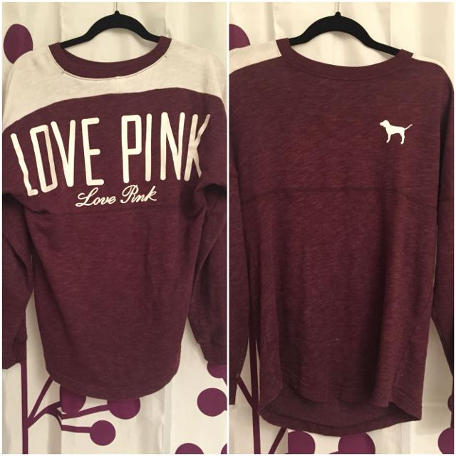 Find more Victoria's Secret Love Pink Burgundy Long Sleeve Sweater ...