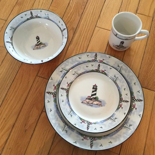 Find More 32 Piece Stoneware Lighthouse Dinnerware Set Purchased In