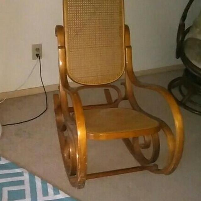 Old Wooden Rocking Chair With Wicker Back And Seat No Holes Great Condition