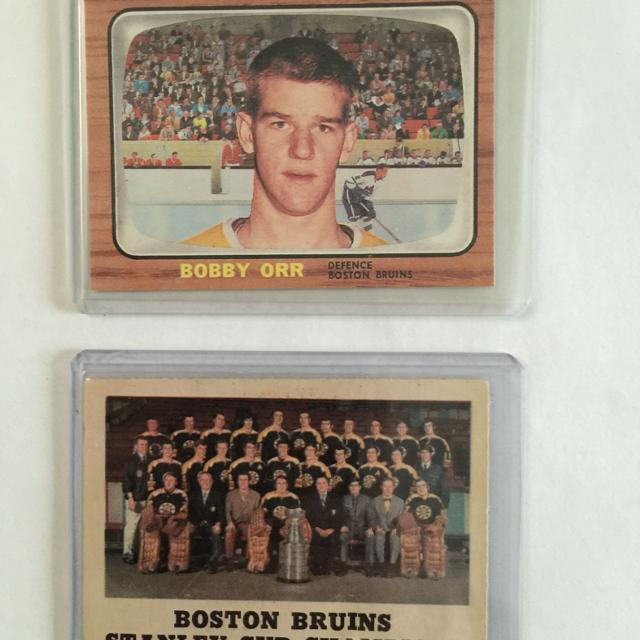 Bobby Orr Rookie Reprint Card And 1970 Boston Bruins Stanley Cup Champions Card