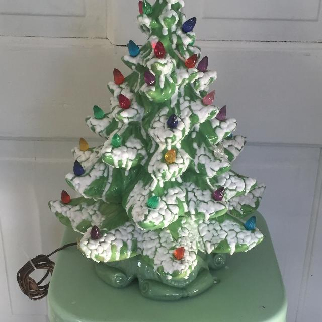 Vintage Ceramic Christmas Tree And Stand