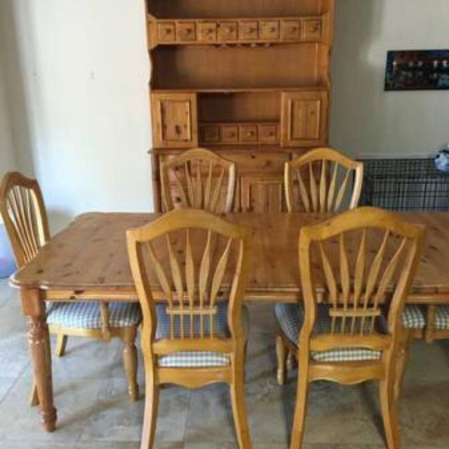 Golden worm wood pine dining set