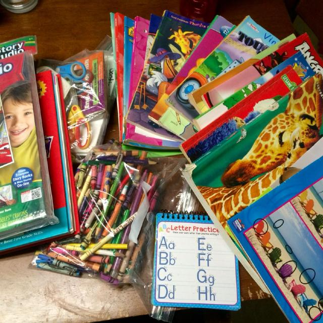 Coloring Books Crayons Colored Pencils Activity Books Scissors Flash Cards School Books