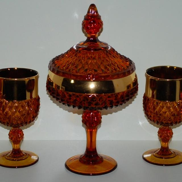OLD IMPERIAL CARNIVAL GLASS COMPOTE CANDY DISH PROPELLER PATTERN.