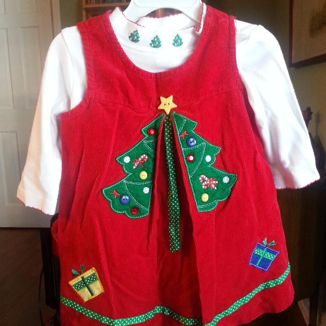 Rare Editions Christmas Tree Dress 2Pc