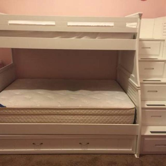 Find More White Belmar 4pc Twin Full Step Storage Bunk Bed With Trundle For Sale At Up To 90 Off